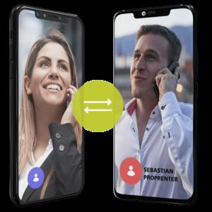 Kontakt mit nextlevelmedia.at. Inhaber Sebastian Proprenter am Telefon mit einer glücklichen Kundin