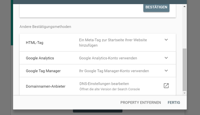 Google Search Console Inhaberschaft
