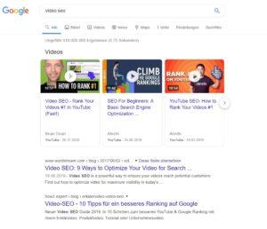 Google Video Karussell