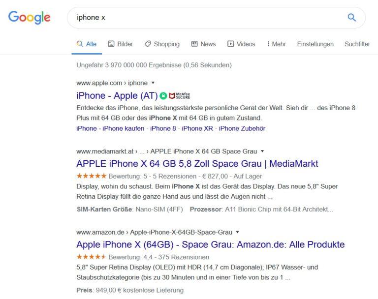 Iphone X Google Suche