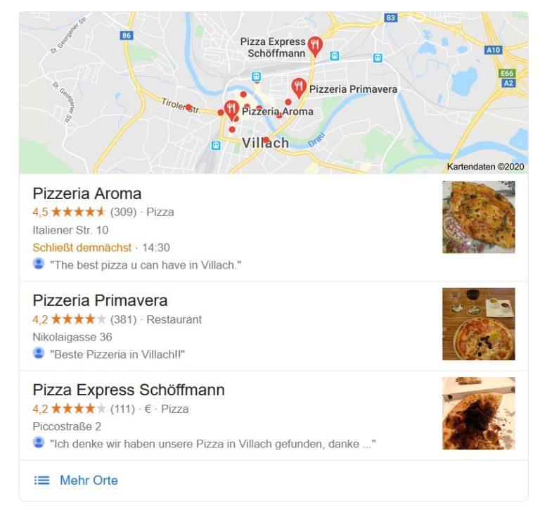 """Local Snack Pack Ergebnis der Google Suche """"Pizza"""" in Villach"""