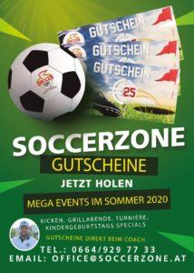 Flyer für Soccerzone Villach Gutscheine. Grafikdesign von nextlevelmedia.at