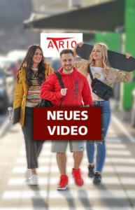 Thumbnail für IGTV auf Instagram für die Atrio Villach Frühlingsmode mit drei Influencern und dem Atrio Logo im Background
