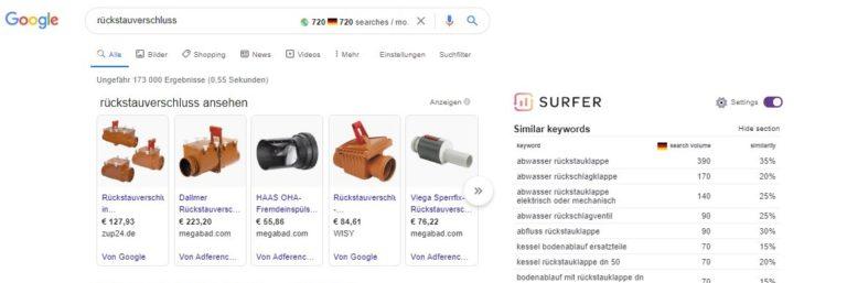 Die Google SERPS für das Keyword Rückstauverschluss zeigen 720 monatliche Suchanfragen