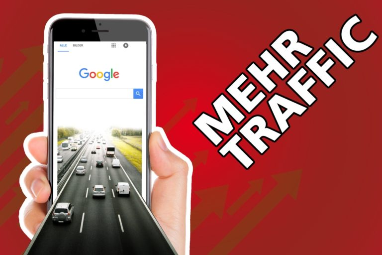 Thumbnail für den Blog Post Mehr Traffic mit einer Grafik die zeigt wie eine Autobahn in ein Handy führt bzw in eine Suchmaschine