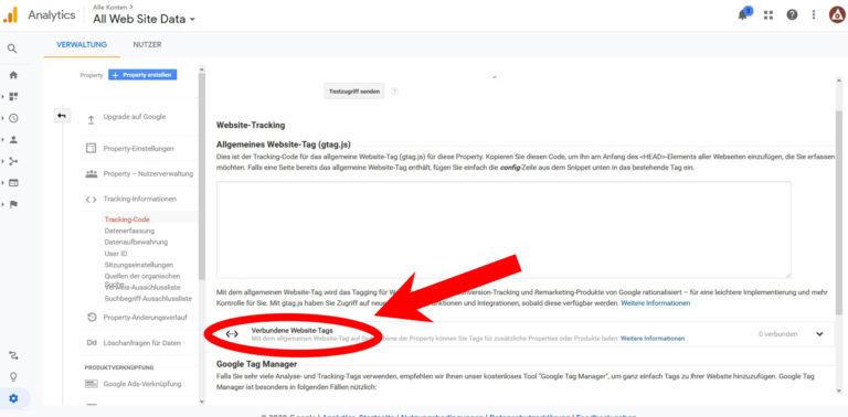 Google Analytics 4 Schritt 9 Verbundene Website Tags klicken