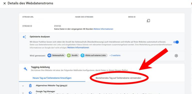 Google Analytics 4 Schritt 6 Tag Auswahl