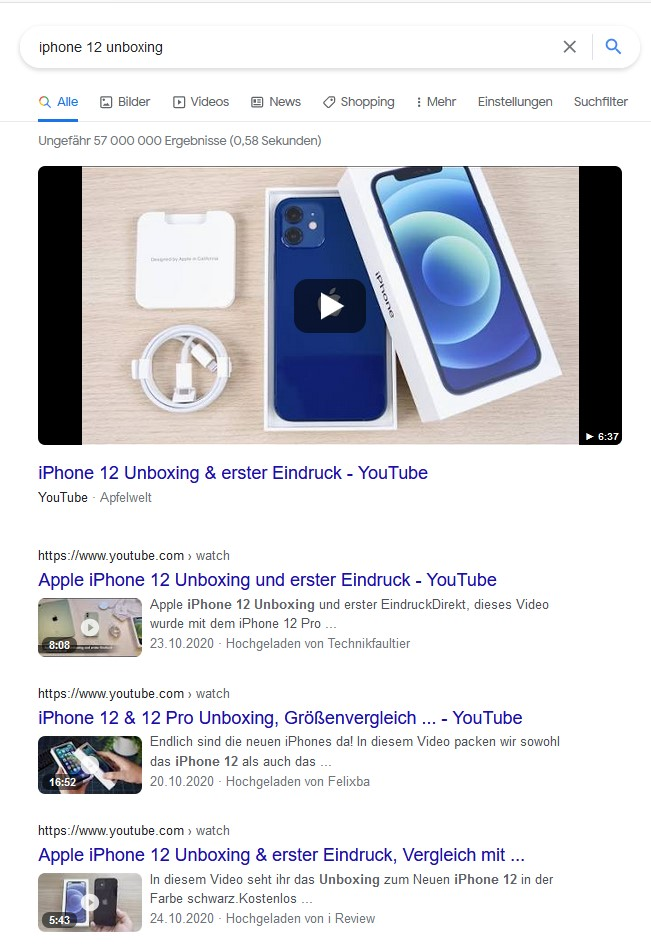 Keyword Analyse für Video Seo Iphone 12 unboxing